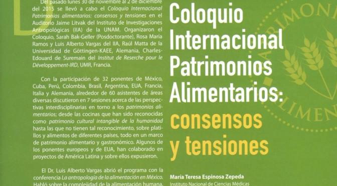 Reseña: Coloquio Internacional Patrimonios Alimentarios